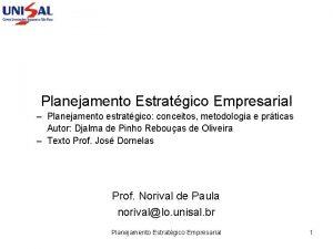 Planejamento Estratgico Empresarial Planejamento estratgico conceitos metodologia e