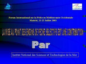 INSTM Forum International sur la Pche en Mditerrane