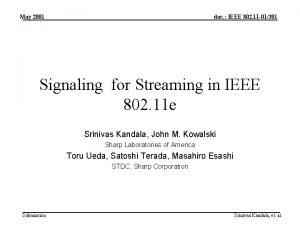 May 2001 doc IEEE 802 11 01301 Signaling