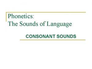 Phonetics The Sounds of Language CONSONANT SOUNDS Places