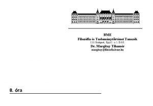 BME Filozfia s Tudomnytrtnet Tanszk 1111 Budapest Egry