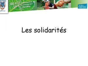 Les solidarits Constats et enjeux pour le Sdis