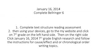 January 16 2014 Complete Bellringer 6 1 Complete