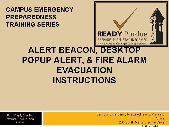 CAMPUS EMERGENCY PREPAREDNESS TRAINING SERIES ALERT BEACON DESKTOP
