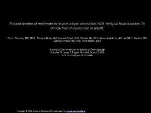 Patient burden of moderate to severe atopic dermatitis