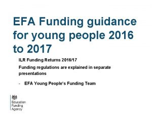 EFA Funding guidance for young people 2016 to