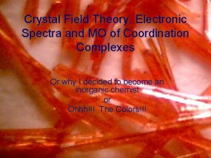 Crystal Field Theory Electronic Spectra and MO of