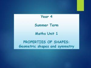 Year 4 Summer Term Maths Unit 1 PROPERTIES