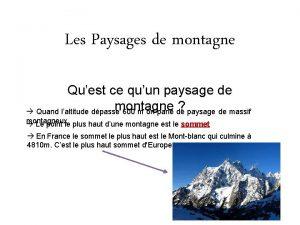 Les Paysages de montagne Quest ce quun paysage