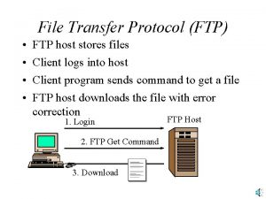 File Transfer Protocol FTP FTP host stores files