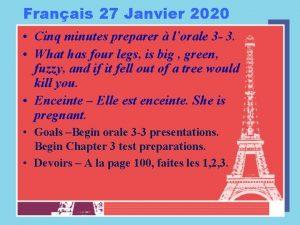 Franais 27 Janvier 2020 Cinq minutes preparer lorale