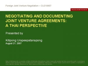 Foreign Joint Venture Negotiation CU 210807 NEGOTIATING AND