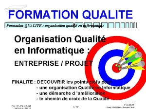 FORMATION QUALITE Formation QUALITE organisation qualit en informatique