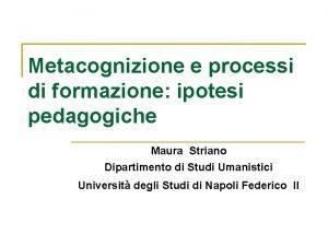 Metacognizione e processi di formazione ipotesi pedagogiche Maura