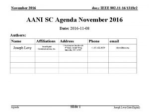November 2016 doc IEEE 802 11 161318 r