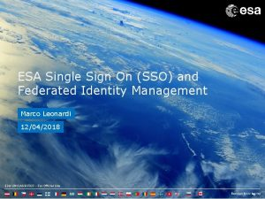 ESA Single Sign On SSO and Federated Identity