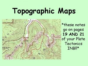 Topographic Maps these notes go on pages 19