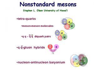 Nonstandard mesons Stephen L Olsen University of Hawaii
