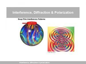 Interference Diffraction Polarization interference diffraction polarization light as