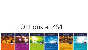 Options at KS 4 Schedule Tomorrow Options Subjects