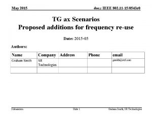 May 2015 doc IEEE 802 11 150543 r