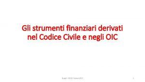 Gli strumenti finanziari derivati nel Codice Civile e