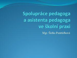 Spoluprce pedagoga a asistenta pedagoga ve koln praxi