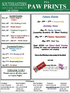 PTA Lab School PAW PRINTS Current Events Dec