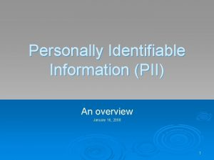 Personally Identifiable Information PII An overview January 16