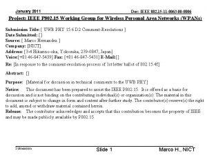 January 2011 Doc IEEE 802 15 11 0063