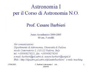 Astronomia I per il Corso di Astronomia N