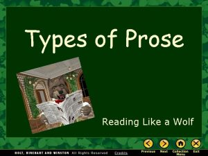 Types of Prose Reading Like a Wolf Types