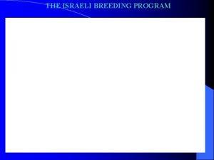 THE ISRAELI BREEDING PROGRAM THE ISRAELI BREEDING PROGRAM
