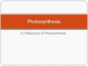 Photosynthesis 6 2 Reactions of Photosynthesis Photosynthesis Purpose