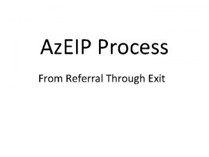 Az EIP Process From Referral Through Exit Objectives