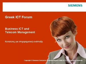 Greek ICT Forum Business ICT and Telecom Management
