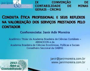 IX CONVENO CONTABILIDADE DE GERAIS CRCMG DE MINAS