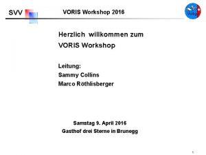 SVV VORIS Workshop 2016 Herzlich willkommen zum VORIS