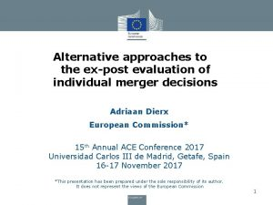 Alternative approaches to the expost evaluation of individual