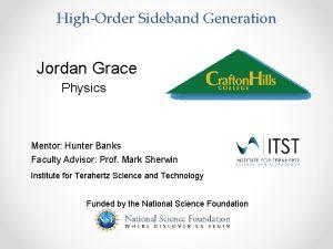 HighOrder Sideband Generation Jordan Grace Physics Mentor Hunter