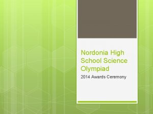 Nordonia High School Science Olympiad 2014 Awards Ceremony