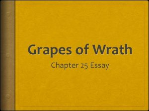 Grapes of Wrath Chapter 25 Essay Introduction Look