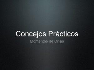Concejos Prcticos Momentos de Crisis Texto Filipenses 4