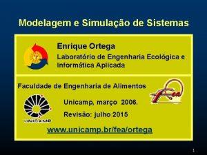 Modelagem e Simulao de Sistemas Enrique Ortega Laboratrio