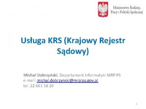 Usuga KRS Krajowy Rejestr Sdowy Micha Dobrzyski Departament