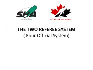 THE TWO REFEREE SYSTEM Four Official System REFEREE