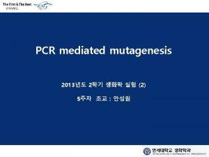 PCR mediated mutagenesis 2013 2 2 5 Procedure
