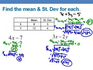 Find the mean St Dev for each Mean