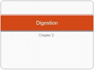 Digestion Chapter 2 What is digestion Process by
