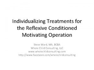 Individualizing Treatments for the Reflexive Conditioned Motivating Operation
